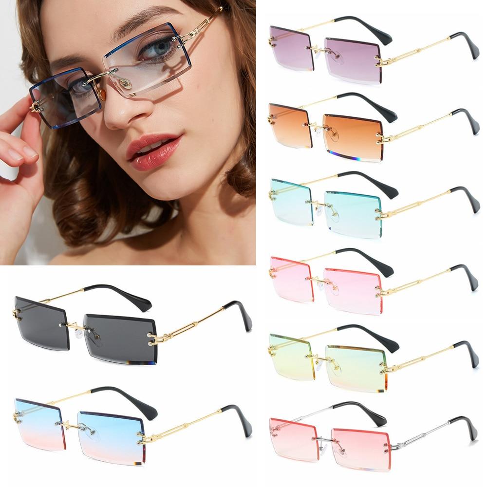 2020 Trendy uomo donna estate occhiali da sole senza montatura moda piccolo rettangolo occhiali da sole stile di viaggio UV400 Shades Eyewear 1