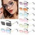 Солнцезащитные очки без оправы UV400 для мужчин и женщин, модные маленькие прямоугольные солнечные, в стиле путешествий, лето 2020