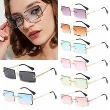 2020 moda feminina verão sem aro óculos de sol moda pequeno retângulo óculos de sol viajar estilo uv400 tons eyewear