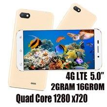 5.0 polegada 2g ram + 16g rom 4g lte versão global smartphones 7a quad core 2mp + 5mp hd frontal/traseiro android 6.0 telefones celulares celuares