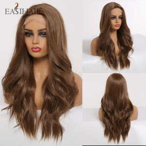 EASIHAIR Brown Lace Front Wig Synthetic Long Wavy Wigs for Women Body Wave Lace Wig Natural High Density Heat Resistant Wig DIY