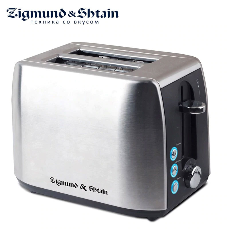 лучшая цена Zigmund & Shtain ST-85 Toaster Household Automatic Bread Toaster Baking Breakfast Machine Stainless steel 2 Slices Bread Maker