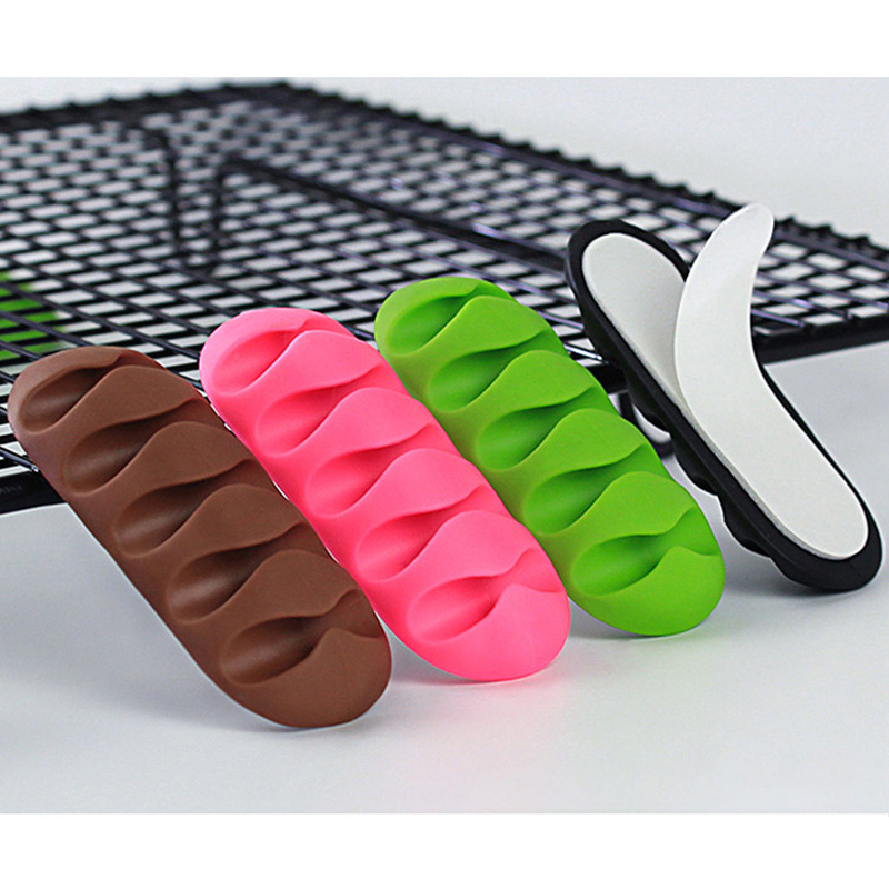 5-Clip Earphone Cable Winder Organizer Charger Cable Holder Fixing Clips USB Tie For PC TV USB Cable Earphone Wire Protector