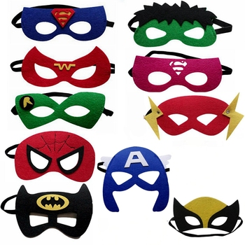 15pcs/lot Super hero Avengers theme Half Face Mask Costume Dress Up Masks Birthday Party Decoration Supplies kids children Gifts