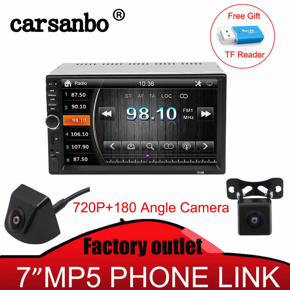 "2 din auto radio 7 ""HD jugador MP5 Digital de pantalla táctil Bluetooth Multimedia USB Monitor de coche con cámara de visión trasera Optiona"