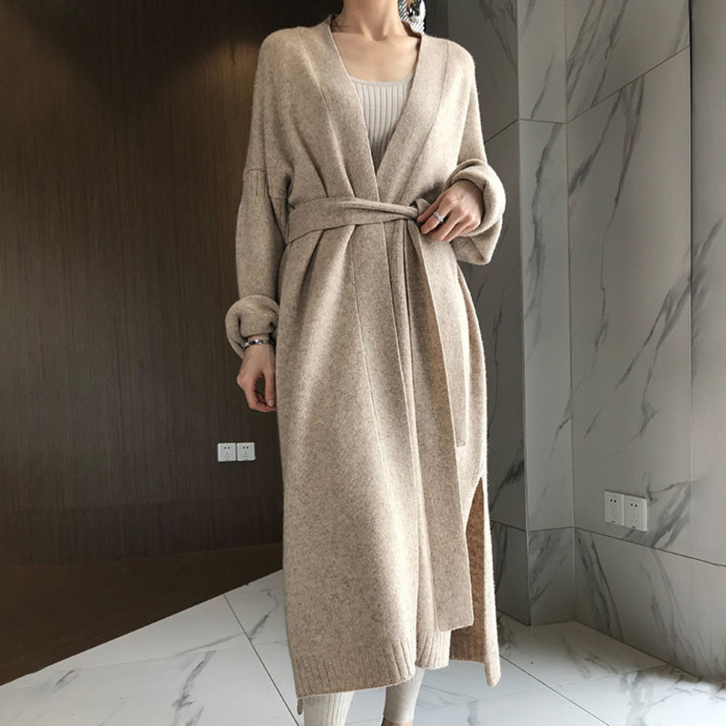 LANMREM 2020 Spring New Fashion Solid Color Loose Long Over The Knee Cardigan Wool Sweater Coat Female PB584