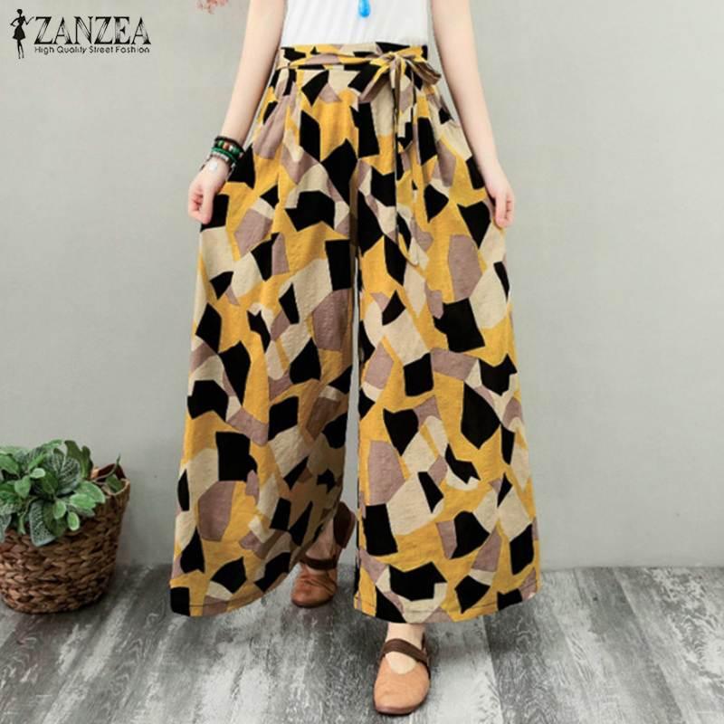 Stylish Elastic Waist Long Pantalon Women's Geometric Trousers Pants 2020 ZANZEA Printed Wide Leg Female Summer Turnip Oversized