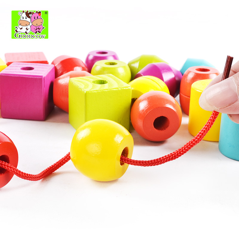 Children Early Childhood Educational Building Blocks Wearing Rope Wear Beads Wooden Box 30 Color Kindergarten 2-3-5-Year-Old Gif