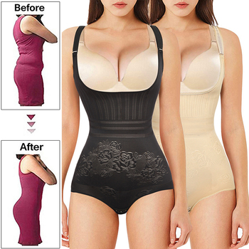 Women's Full Body Shaper Seamless Open Bust Waist Shaping Body Shaper Firm Tummy Control Shapewear Bodysuit Slimming Underwear 1