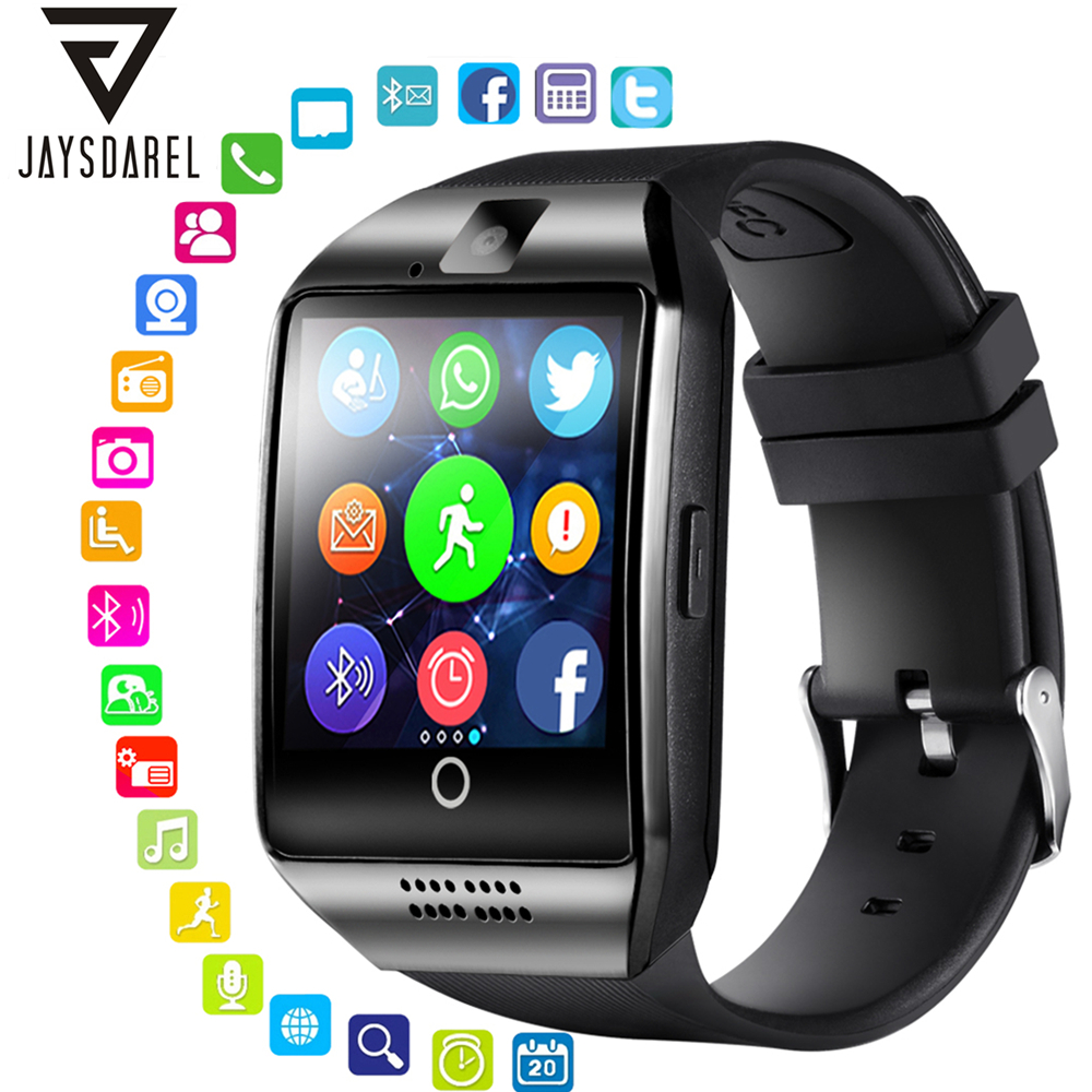 JAYSDAREL Q18 Smart Watch Touch Screen Support TF Sim Card Camera Bluetooth Smartwatch   Facebook Whatsapp Twitter Sync SMS