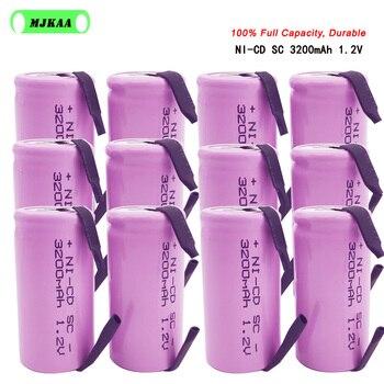 18 sztuk SC 1.2V 3200MAH akumulator 4/5 SC Sub C ni-cd komórka z zakładkami spawania do wiertarki elektrycznej śrubokręt