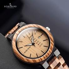 Relogio masculino בובו ציפור גברים שעון עץ עסקים אוטומטי תאריך שבוע תצוגת קוורץ שעון Relogio אישית לוגו סיטונאי