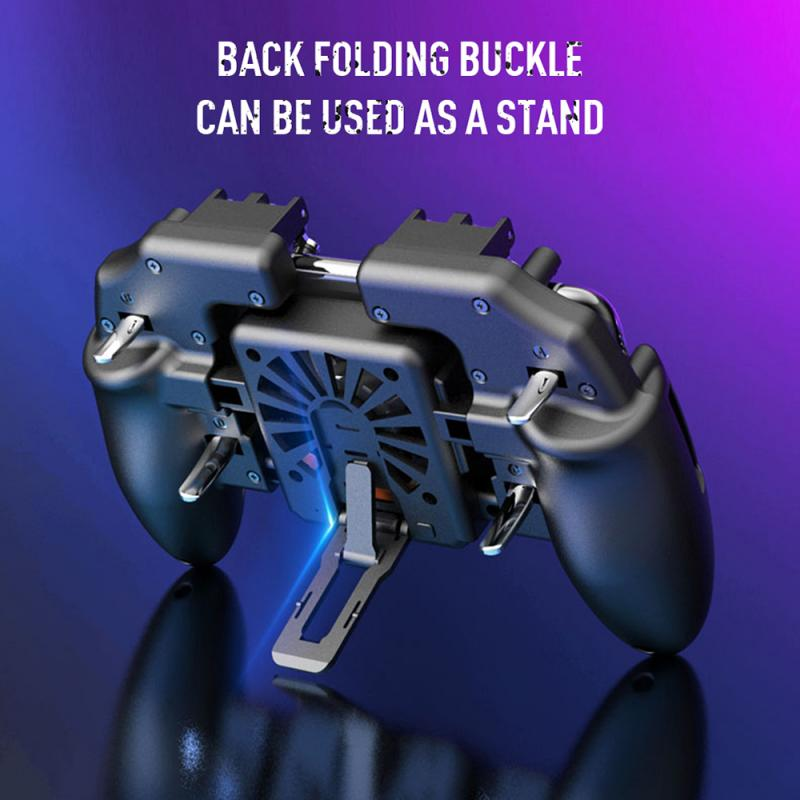 PUBG Mobile Joystick Controller Turnover Button Gamepad for PUBG iOS Android Six 6 Finger Operating Gamepad With Cooling Fan 4