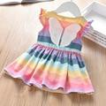 Платье для маленьких девочек 2021 Лето Новое поступление; Детская одежда из хлопка; Рисунок C бантом в полоску цветастой радуги для детей плат...
