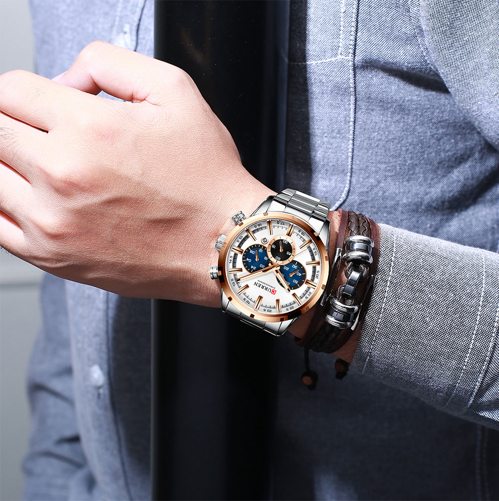 Hc6de054e31384cdaa1c24ecf2f2dfc433 CURREN New Fashion Mens Watches Quartz Chronograph