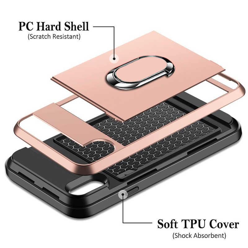 Armatura Scivolo Carta Antiurto Cassa Del Telefono Per Huawei P20 P30 lite Pro Honor 7X Compagno 10 P di Smart 2019 Anello supporto del basamento Della Copertura Della Cassa