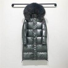 Большой воротник из натурального меха енота,, зимняя куртка с капюшоном, Женская длинная парка на белом утином пуху, пальто, женская Свободная Толстая теплая верхняя одежда