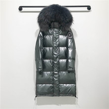 Big Real Raccoon Fur Collar 2019 Hooded Winter Jacket Women Long White Duck