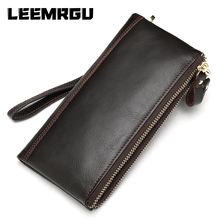 New Korean Men's Leather Long Wallet Zipper Soft Leather Leather Wallet Business Multifunction Large Capacity Wrist Bag