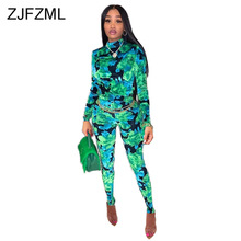 Camouflage Print Romper Women Jumpsuit Turtleneck Long Sleeve Club Party Bodysuit Streetwear Female Front Zipper Bodycon Overall slogan print racer front bodysuit