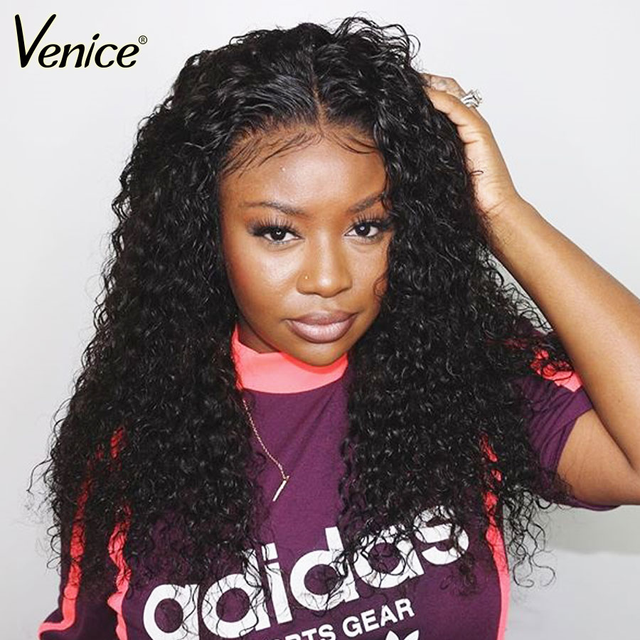 Venice Hair 13x6 Lace Front Human Hair Wigs For Black Women Curly Lace Wigs With Baby Hair Pre Plucked Remy Hair Bleached Knots