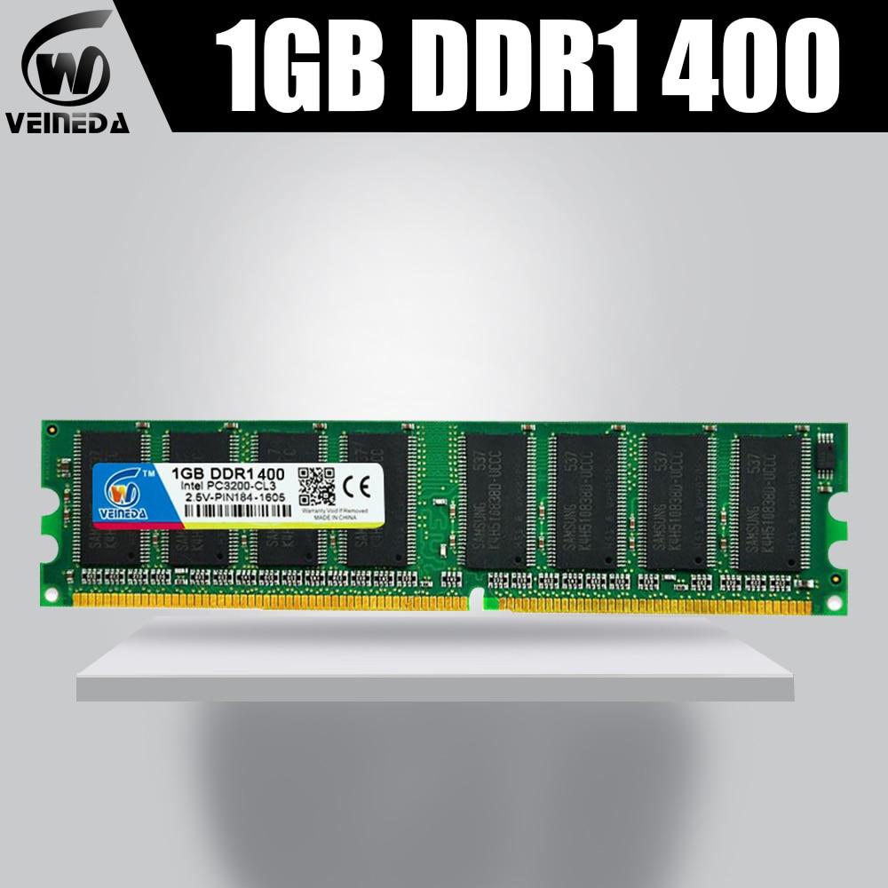 VEINEDA DDR1 Memory Ram 1GB 400MHZ PC3200 184Pin Desktop Memory 1G 184-pin Long-Dimm Ram Ddr1 Memory Compatible With 266,333MHZ