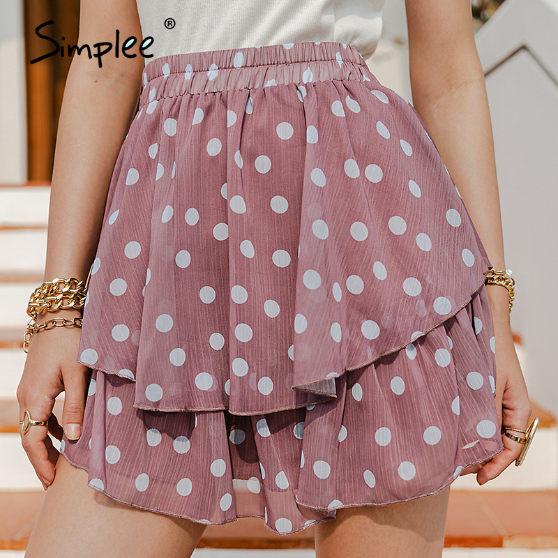 Simplee Elegant polka dot print women mini skirt Streetwear ruffled A-line skirt female Spring summer holiday ladies skirts new