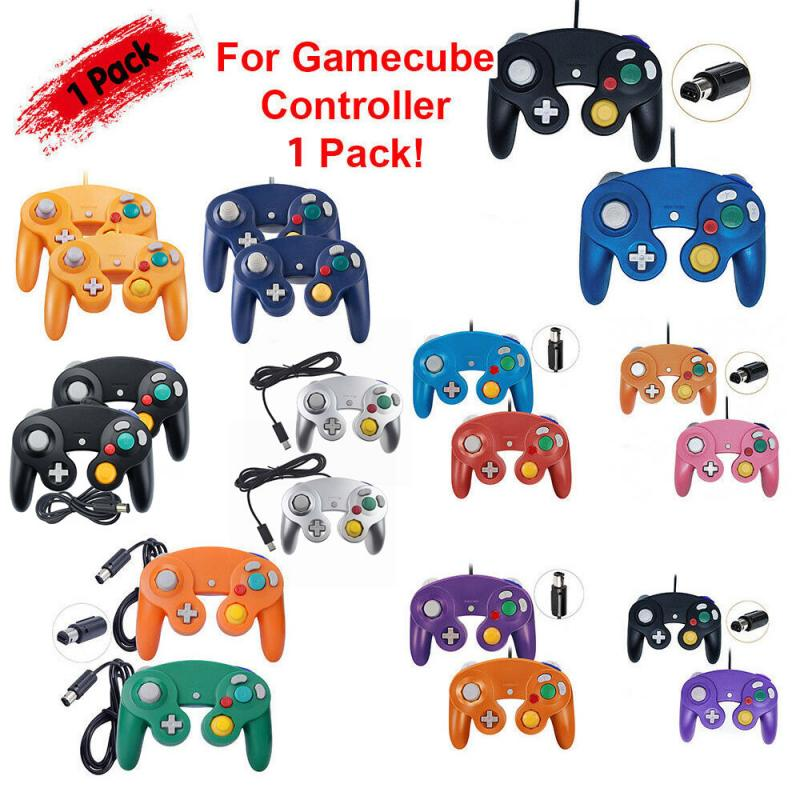 Wired 4 Fire Buttons Handheld Controller Gamepad Joystick With Steel Shaft For Nintendo GameCube <font><b>GC</b></font> &Wii U Console <font><b>Plug</b></font> And Play image