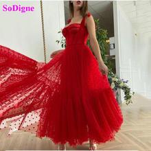 Sodigne простые красные Вечеринка платья Милая Короткое платье