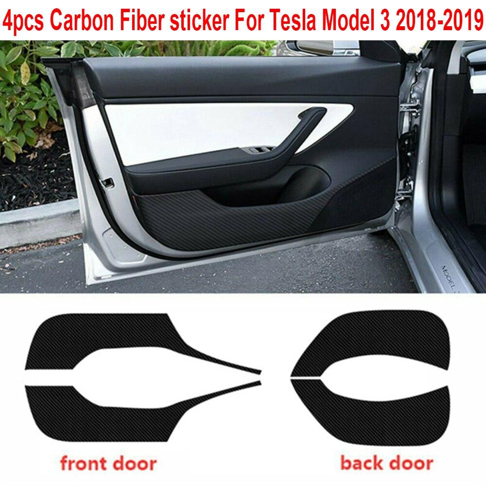 4pcs/Set Car Door Anti Kick Pad Sticker Trim Black For Tesla Model 3 2017-2019 Black Carbon Fiber Car Door Sticker Mat