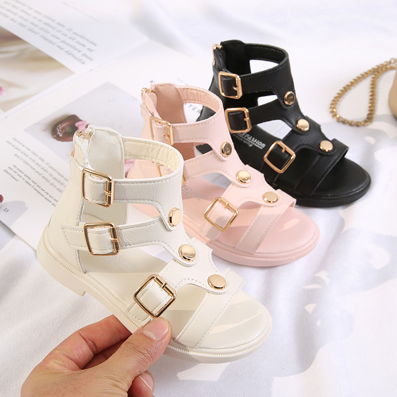 Girls Roman Sandals 2020 New Summer Little Children Princess High-top Shoes Kids Gladiator Soft Bottom Party Shoes