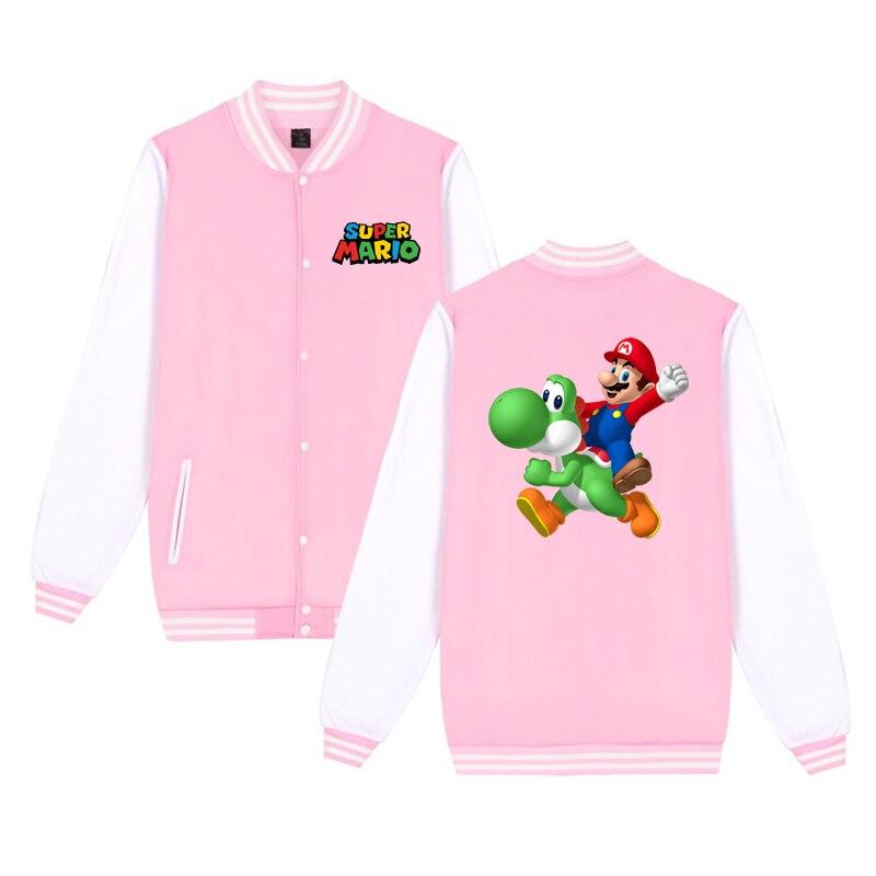 New Mario Print Toddler Baby Clothes Girls Boys Baseball Jackets Coats Kids Sweatshirts Outwear Children Cotton Sport Sweater