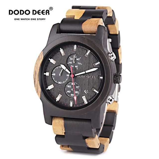 דודו צבי חדש עיצוב גברים שעונים זכר Creative עסקי קוורץ שעון עץ שעונים הכרונוגרף תאריך שבוע תצוגת Dropship