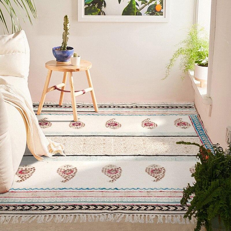 Tapis en coton pour salon inde importé maroc chambre tapis tissé à la main tapisserie avec gland bohème canapé thé Table tapis