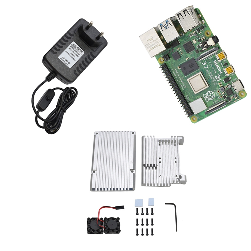 For Raspberry Pi 4 Model B 2G RAM DIY Kit With Case Cooling Dual Fan 5V 3A Power Adapter