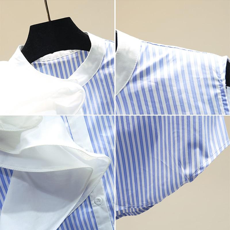 Women's Striped Sleeveless Shirt Women's Reffles Stand Collar Blouse Stripe Blouses and Tops Lady Top Blusas Mujer De Moda 2020