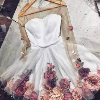 Pretty 3D Flower Lady Cocktail Dresses See Thru Full Sleeves Floral Short Homecoming Sweet Prom Gowns 2020