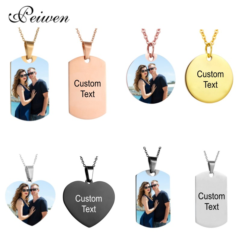 Personalized Customization Necklace Custom Color Photo Engrave Text Stainless Steel Necklace For Women Men Charm Choker Necklace