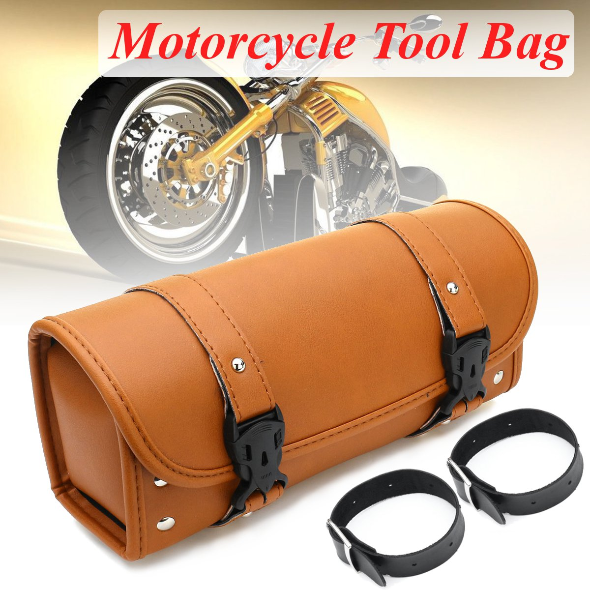 Pu Leather Motorcycle Saddlebags Side Bag Luggage Storage Bag For