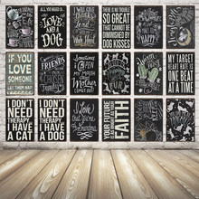 [Kelly66] Liefde Hond En Kus Kat Mom Quote Vintage Metal Sign Tin Poster Home Decor Bar Wall Art schilderen 20*30 CM Grootte Dy12(China)