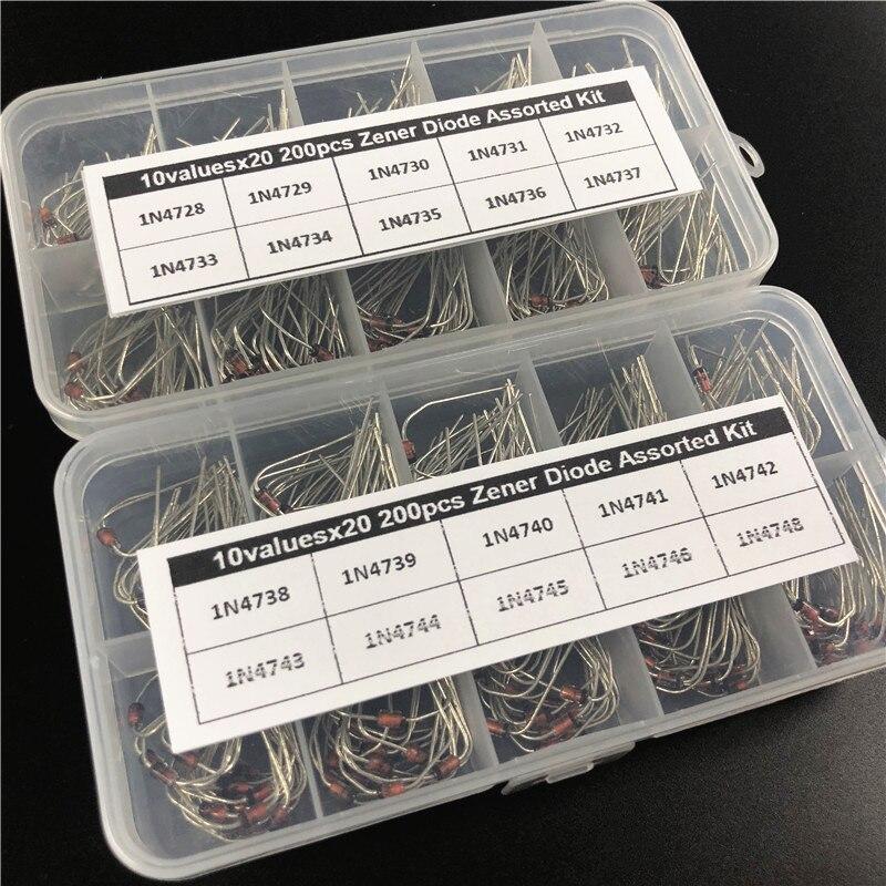 20 valores x20 400 pces zener diodo sortimento eletrônico kit 1n4728 11n4748 1 w do-41 com 2 caixa de armazenamento