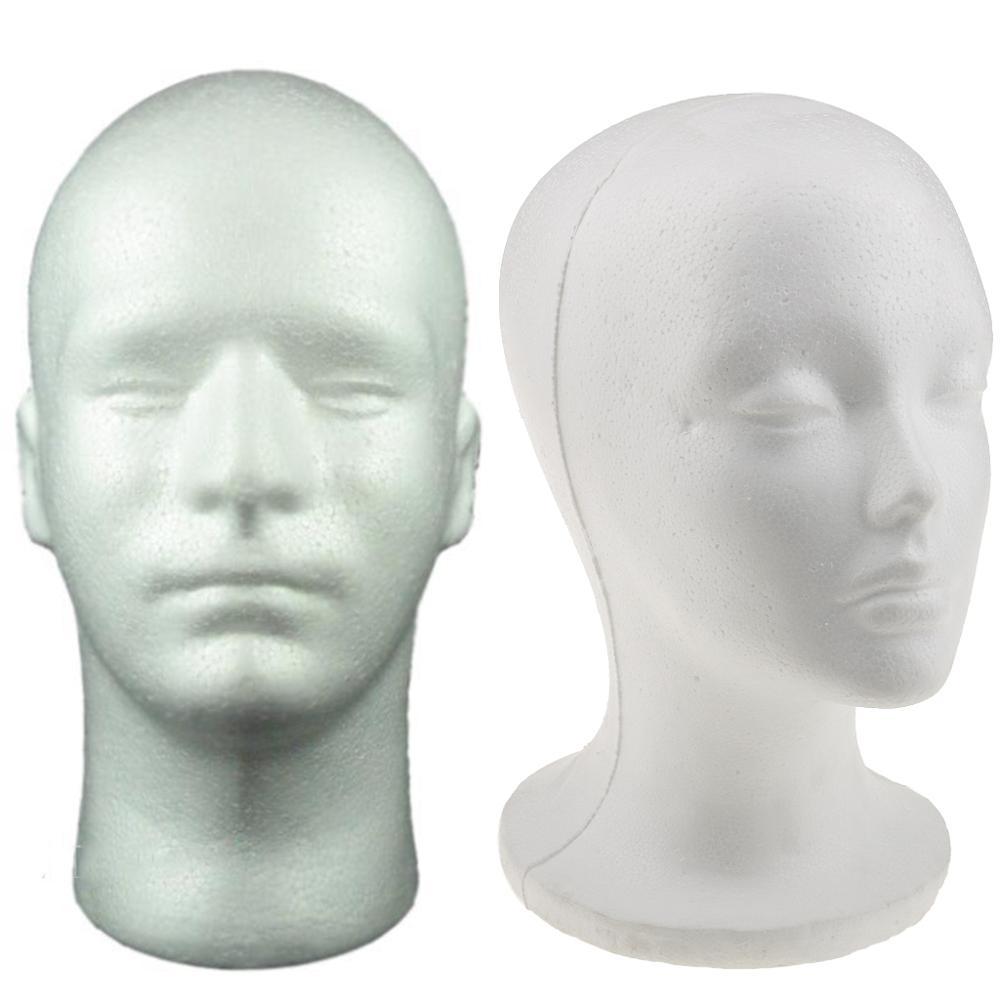 Женский мужской манекен головы белый пенополистирол головы модель Стенд парик волос шляпа гарнитура стенд стойки