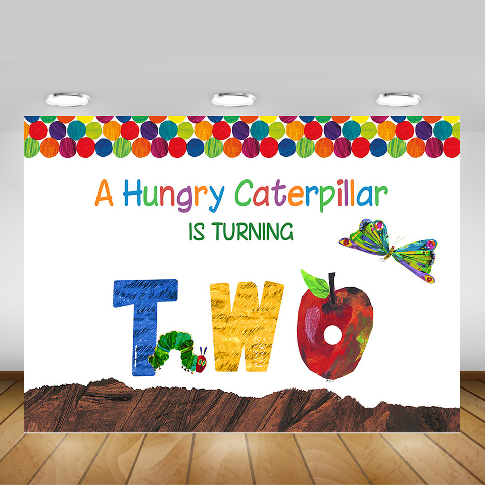 A Hungry Caterpillar Is Turning Two Background Children Birthday