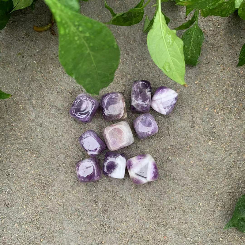 Fantasy Amethyst Stone Block 10Pcs Set Stones And Crystals Smooth Stone Collection Crafts Home Decoration Watch Gemstones in Stones from Home Garden