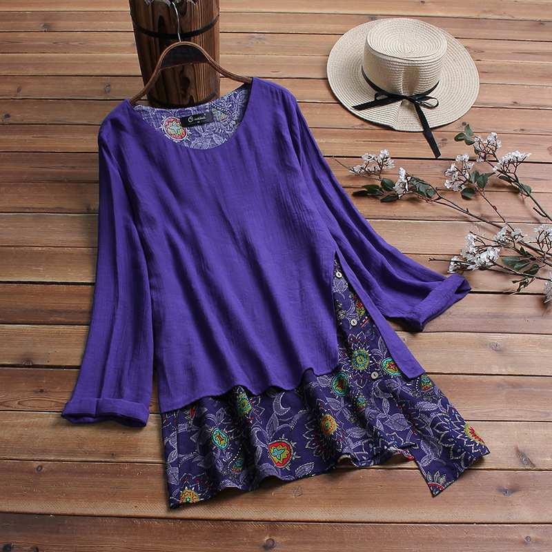Plus Size Asymmetrical Tunic Women's Print Blouse ZANZEA Fashion Patchwork Tops Long Sleeve Spring Shirts Female Button Blusas