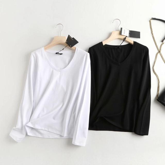 Fané automne harajuku t-shirt angleterre style simple solide 100% coton à manches longues t-shirt femmes camisetas verano mujer 2020 haut