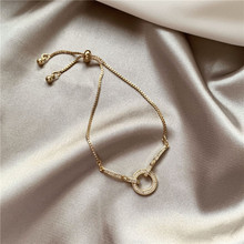 2020 New Korean Vintage Round Rhinestone Bracelet For Women Gold Cute Girl Bracelet Gifts Fashion Jewelry Accessory 2020 new korean vintage star and moon rhinestone bracelet for women gold pearl girl bracelet gifts fashion jewelry accessory