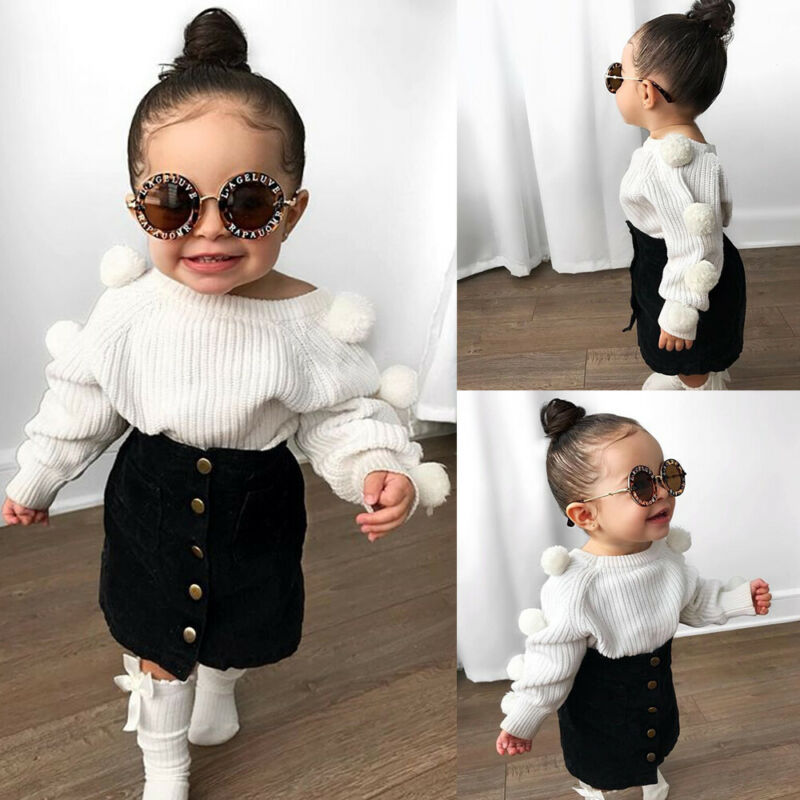Skirt 2pcs Clothes Sweatsuit Toddler Kids Girl Long Sleeve Pom Pom Tops Sweatshirt