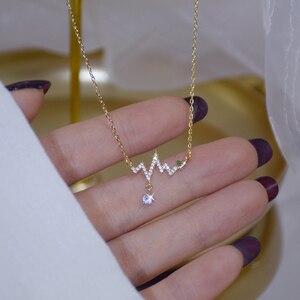 14K Real Gold Fashion Design Signal Fluctuation Shape Necklace Micro Inlay Zircon Women Choker Koyle Jewelry Pendant Gfit
