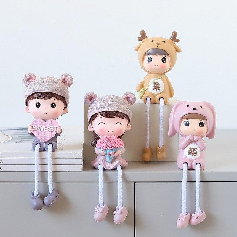 2 pçs nordic boneca para sala de estar decoração do quarto dos miúdos decoração resina boneca coelho estatueta artesanato para crianças crianças decoração do quarto caçoa gfits